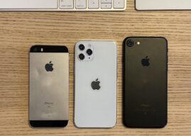 5,4-calowy model iPhone'a 12 porównany wielkością do pierwszej generacji iPhone'a SE i iPhone'a 7