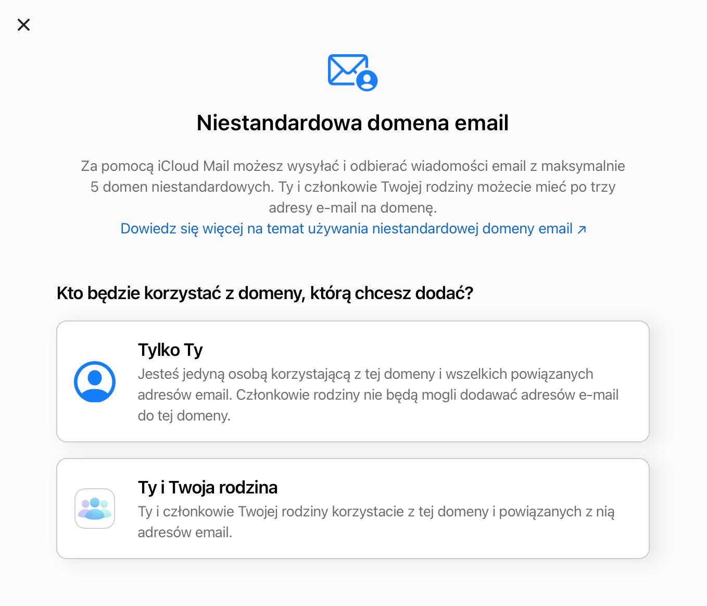 niestandardowa domena email iCloud+