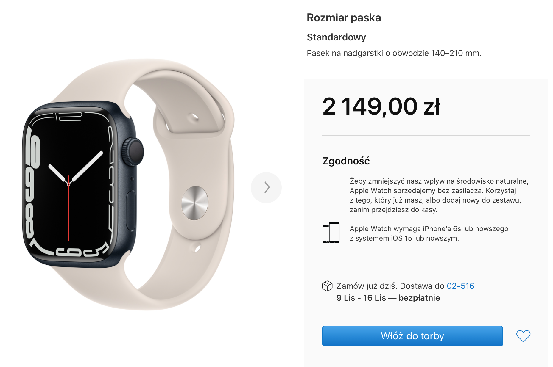 dostawa Apple Watch Series 7
