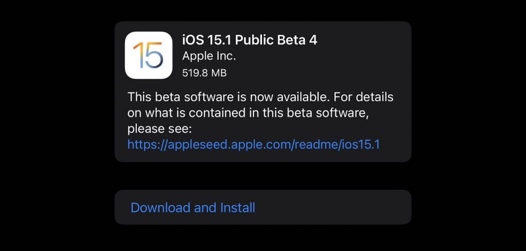 iOS 15.1 beta 4